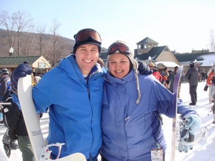 Russell and Kristina pose with their snowboards at Whitetail ski resort.