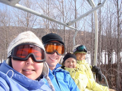 The whole crew going up the lift at Whitetail ski resort.