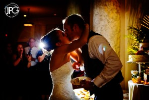 Cake cutting kiss.