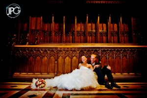 Couple posing in church