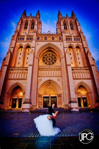 Wedding couple in front of National Cathedral