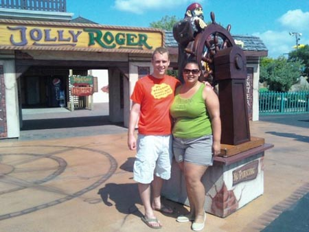 Outside the Jolly Roger amusement park for some miniture golf.