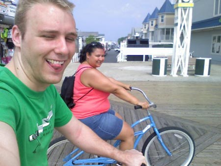 Kristina and I riding bikes on the Ocean City boardwalk.