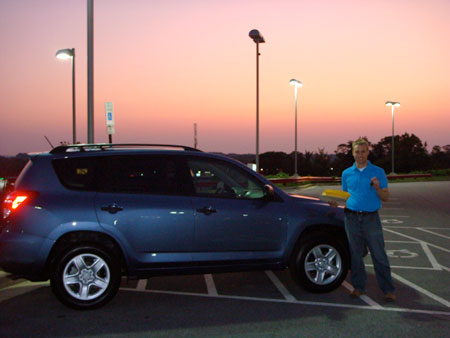 Russells new blue Toyota Rav4 at dusk