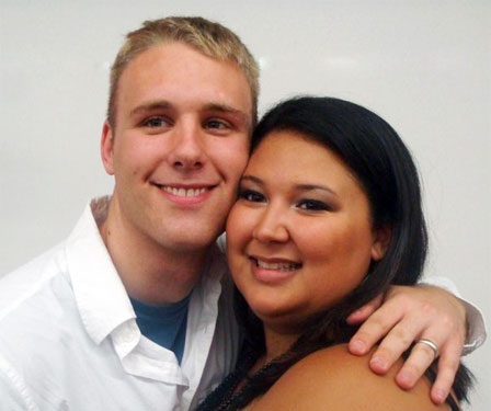 Russell and Kristina cheek to cheek